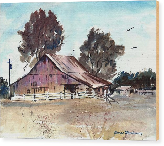 Barn Wood Print featuring the print Country Barn by George Markiewicz