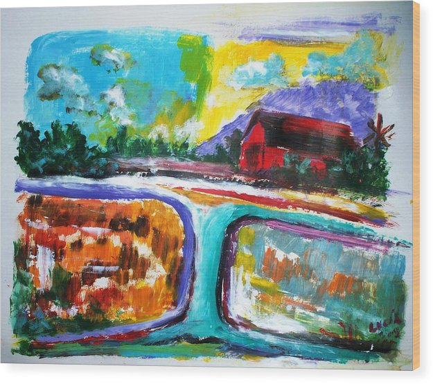 Abstract. Lamdscape.barns Wood Print featuring the print Country Mile by Carl Lucia