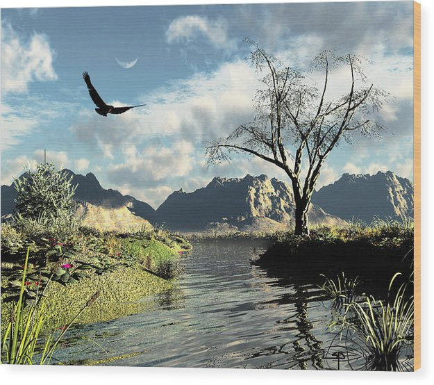 Big Sky Country Red Tail Hawk Stream Frontier Wood Print featuring the digital art Montana Sky by Steven Palmer