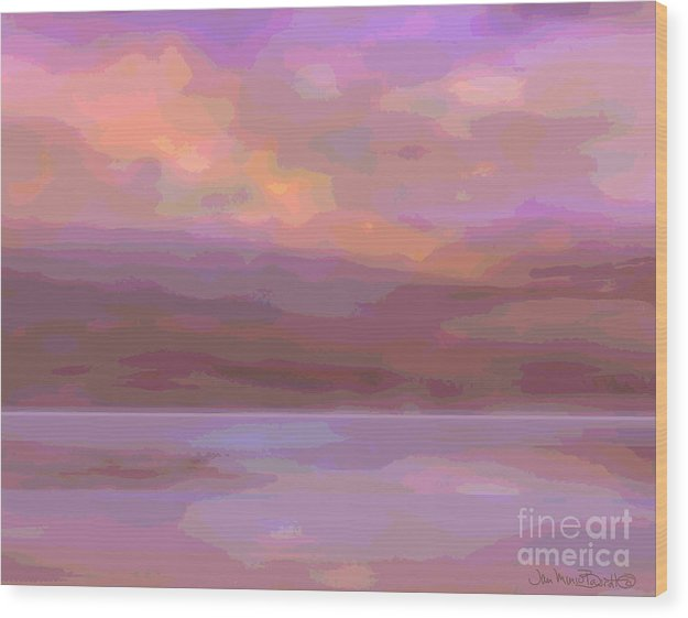 Soft Early Morning Serene Colours Wood Print featuring the painting On The Coast by Jean Marie Bowcott