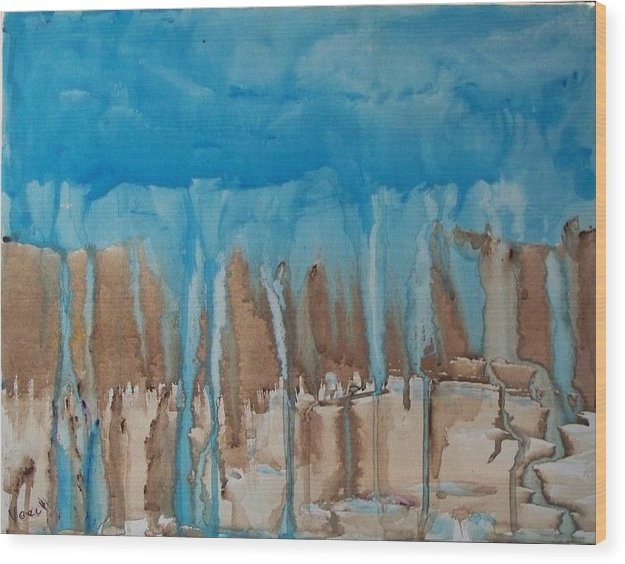 Abstract Wood Print featuring the painting Desert Storm by Larry Verch