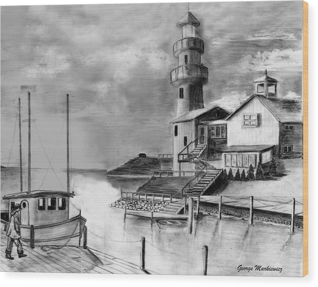 Sea Landscape Wood Print featuring the print Home Before Dark by George Markiewicz