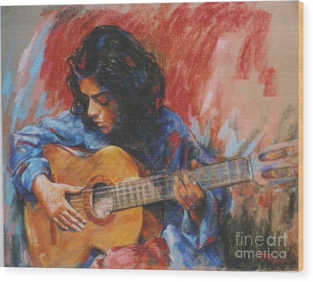Figurative Wood Print featuring the painting Mi Gitana by Tina Siddiqui