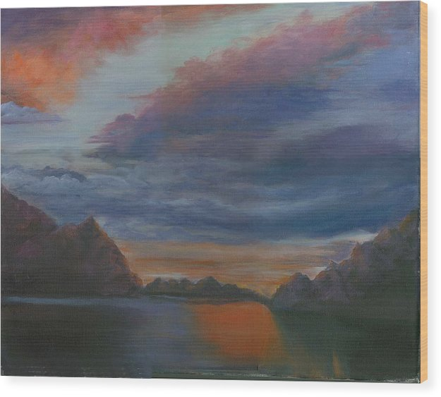 Sunset Clouds Wood Print featuring the print Sunset Clouds by George Markiewicz