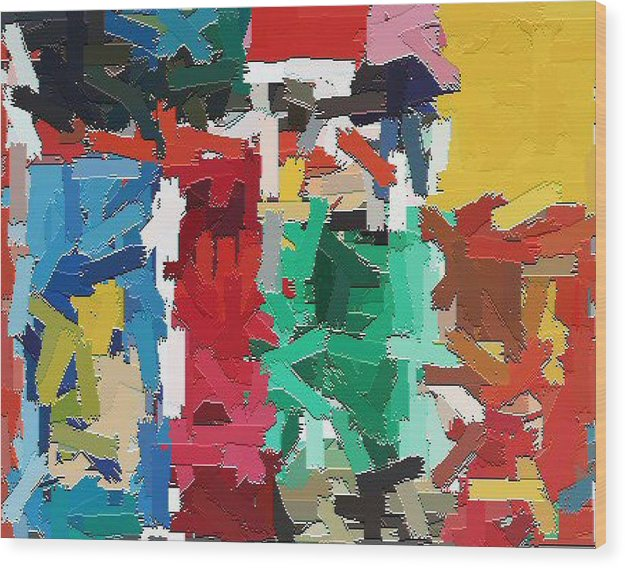 Abstract Wood Print featuring the painting Cleaning The Palette by Don Phillips