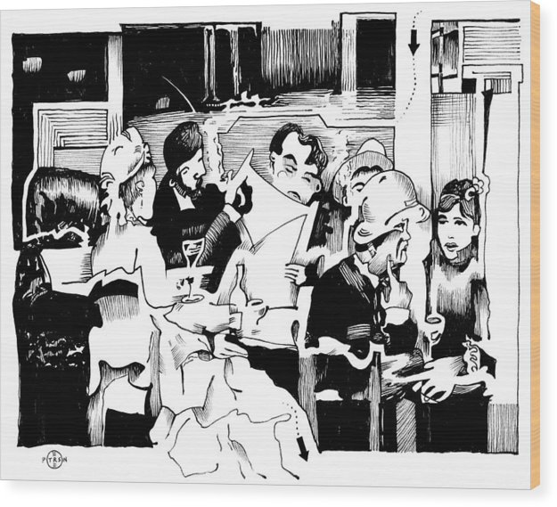 Paris Cafe Scene Wood Print featuring the drawing Gervex Paris Cafe by Gary Peterson