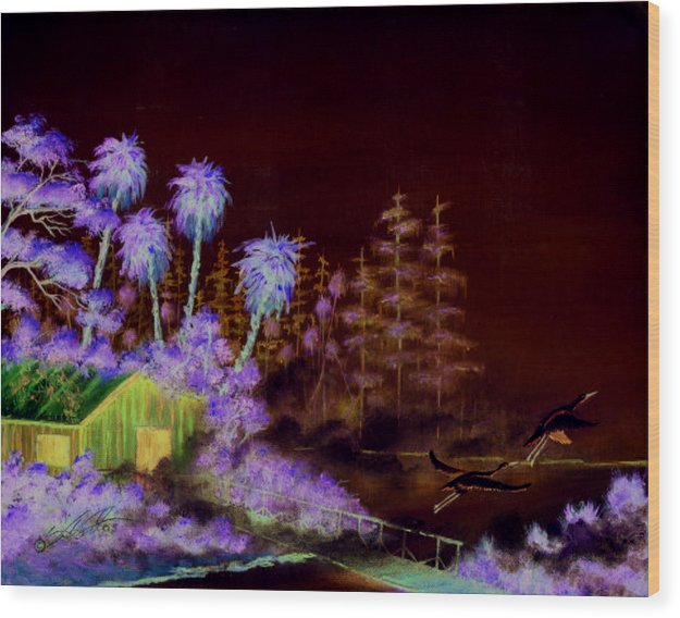 Landscape Wood Print featuring the painting Shack In A Swamp by Dennis Vebert