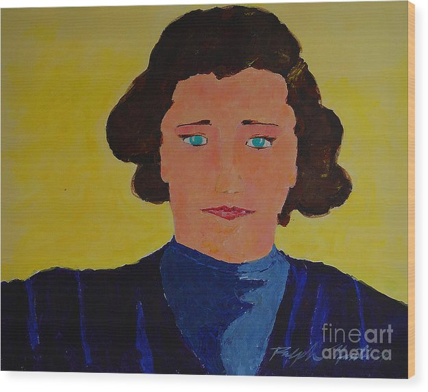Portraiture Wood Print featuring the painting Anna by Art Mantia