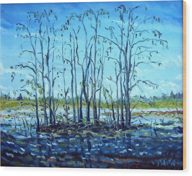 Loxahatchee Wood Print featuring the painting At Loxahatchee by Ralph Papa