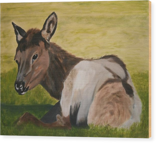 Elk Wood Print featuring the painting Baby Elk by Robert Tower