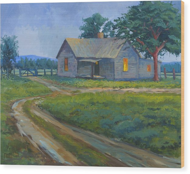 Landscape Wood Print featuring the painting Cold Wet Day by Bob Adams