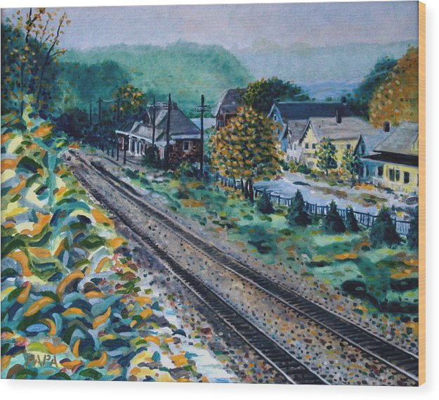 Garrison Wood Print featuring the painting Garrison Station by Ralph Papa
