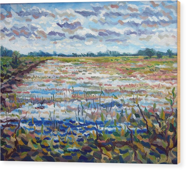 Loxahatchee Wood Print featuring the painting Loxahatchee Wetlands by Ralph Papa