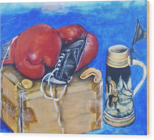 Boxing Gloves Wood Print featuring the painting Round Eight by Howard Stroman