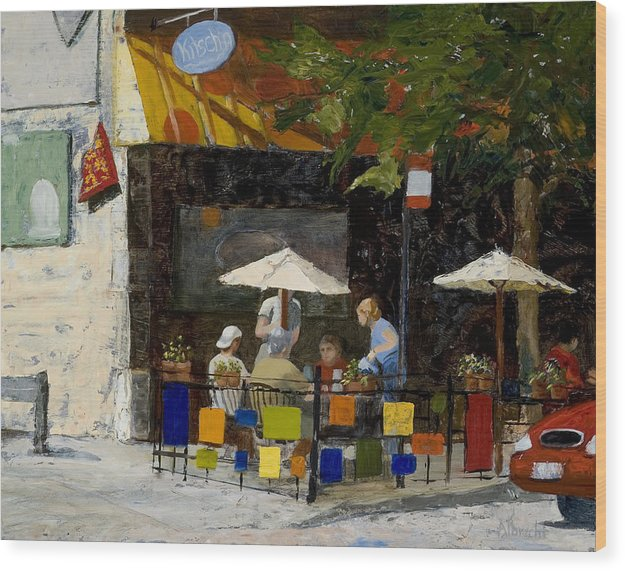 Chicago Wood Print featuring the painting Village Brunch by Nancy Albrecht