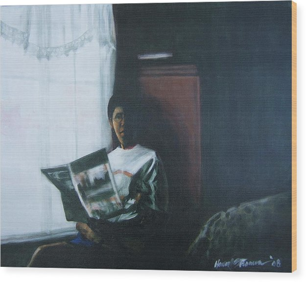 Portrait Wood Print featuring the painting The Guest Room by Howard Stroman