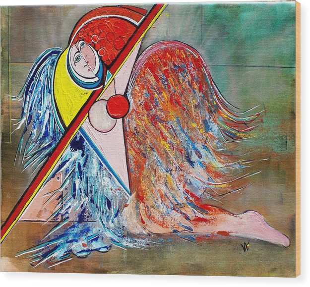 Angel Wood Print featuring the painting Angel - Study 1 by Valerie Wolf