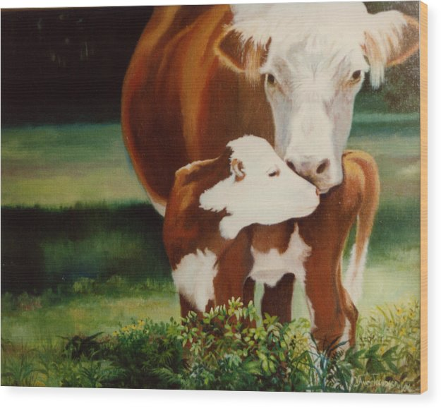 Calf Wood Print featuring the painting First Kiss by Valerie Aune