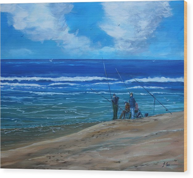 Seascape. Fishing. Wood Print featuring the painting Gone Fishing. by John Cox