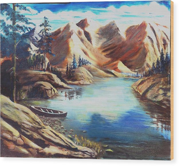 Rugged Mountains Wood Print featuring the print Nature by George Markiewicz