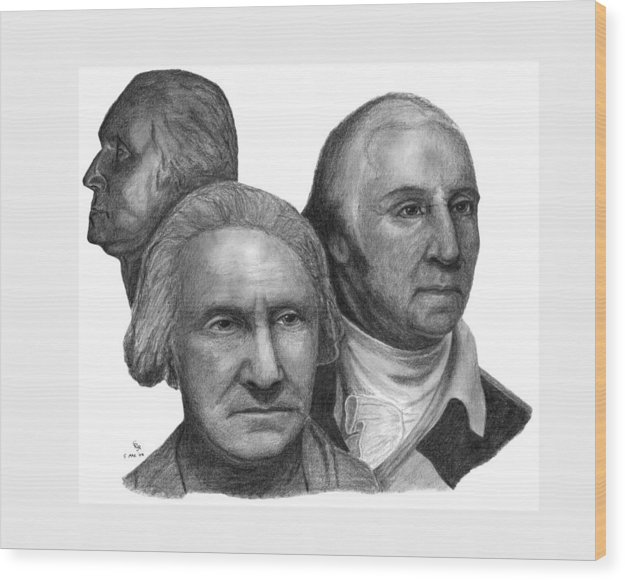 Washington Wood Print featuring the drawing President George Washington by Charles Vogan
