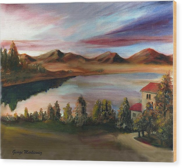 Lake Landscape Wood Print featuring the print Sunrise Lake by George Markiewicz