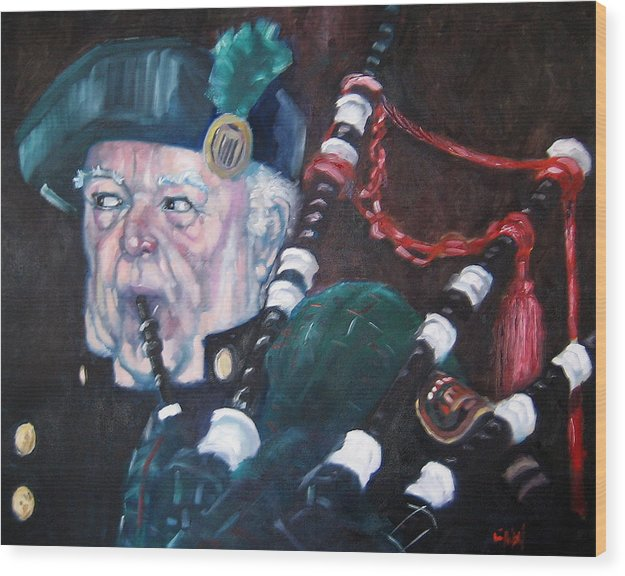 Scottish Irish Ireland Scotland Music Portrtait Wood Print featuring the painting The Piper by Kevin McKrell