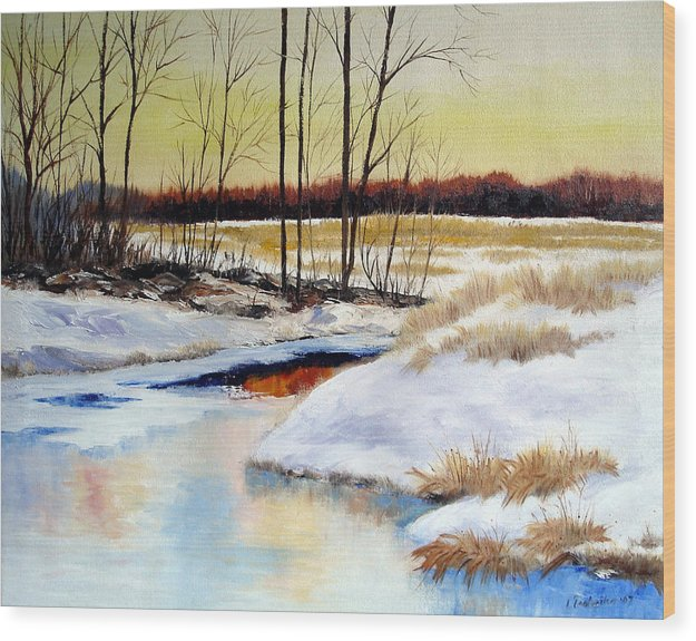 Maine Nature Paintings Original Art Landscape Wood Print featuring the painting Winter Stream 1107 by Laura Tasheiko