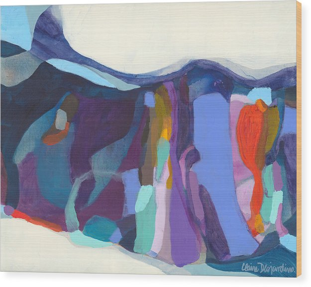 Abstract Wood Print featuring the painting With Grace by Claire Desjardins