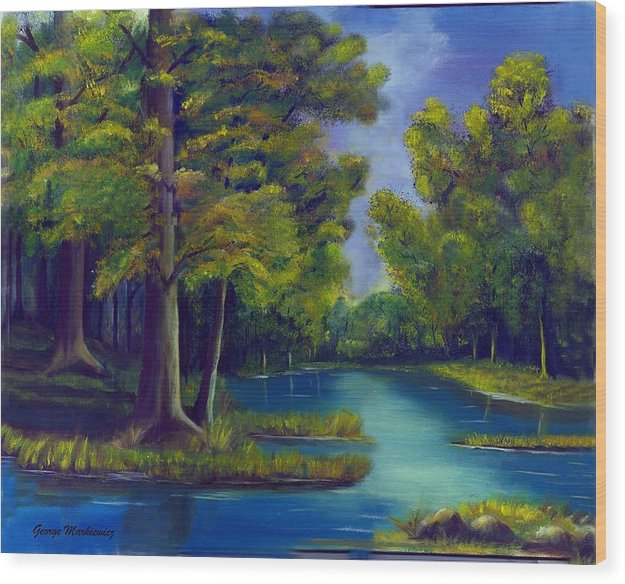 Water Landscape Wood Print featuring the print Deep Woods by George Markiewicz