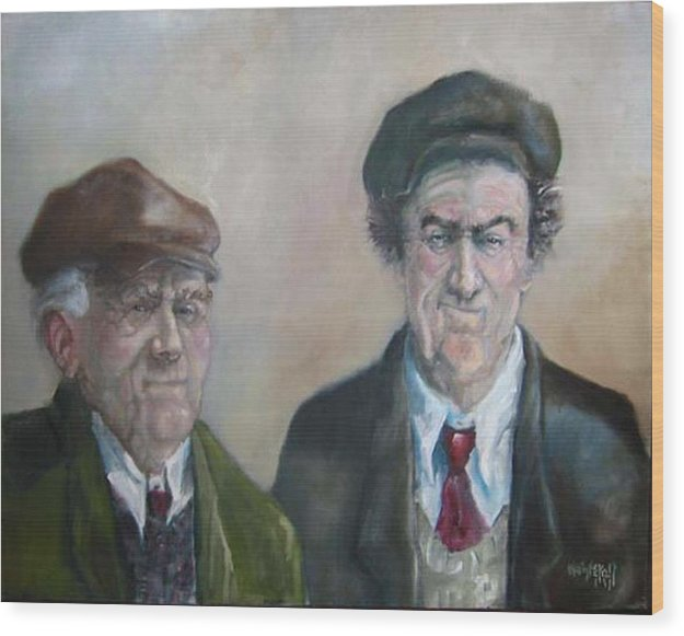 Portrait Figure Wood Print featuring the painting Father And Son by Kevin McKrell