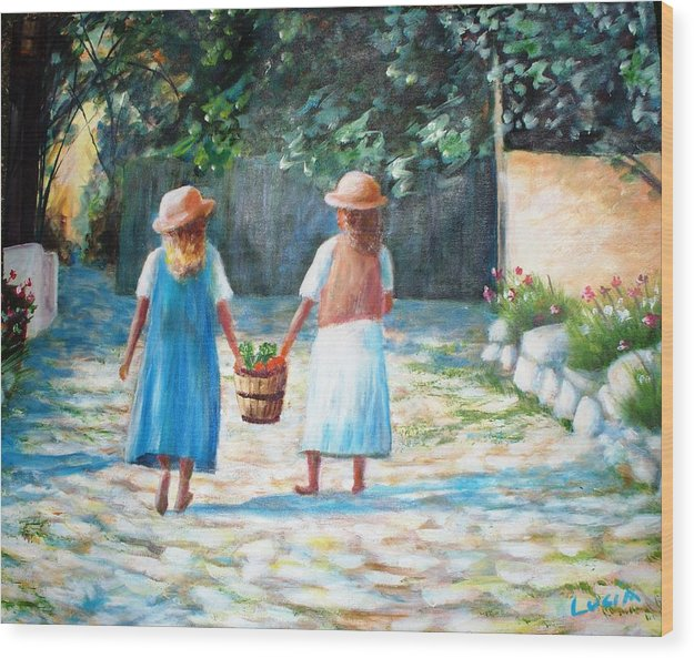 Garden. Girls.flowers. Fruit. Wood Print featuring the print Sisters by Carl Lucia