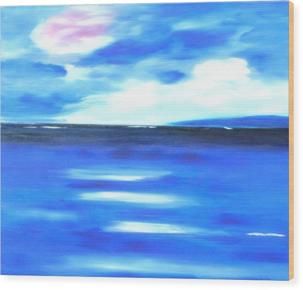 Caribbean Wood Print featuring the painting Sea Blue Sky by Sula Chance