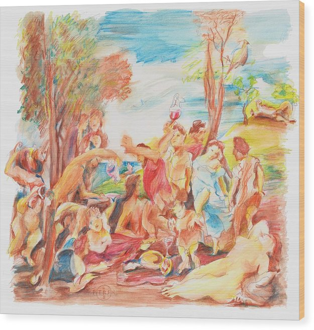 Titian Wood Print featuring the drawing Titian Bacchanalia Color by Gary Peterson