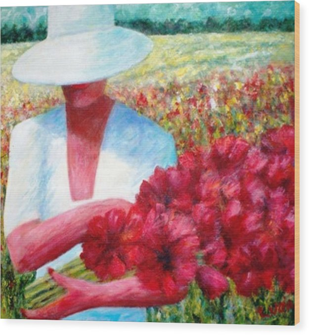 Woman. Field. Counrty. Flowers. Memories. Wood Print featuring the print Memories In Red by Carl Lucia