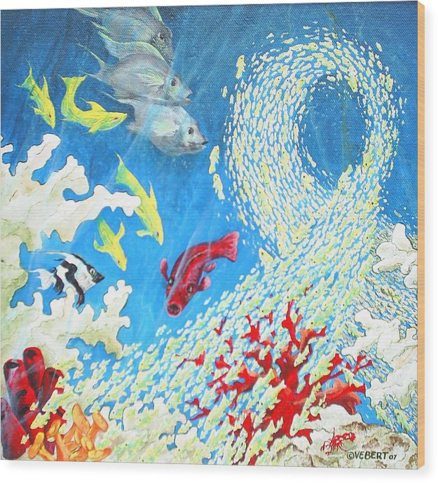 Marine Life Wood Print featuring the painting Fish Swarm by Dennis Vebert