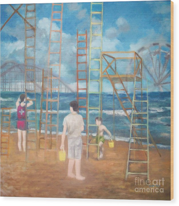 Surrealism Wood Print featuring the painting By The Sea by Loren Lee