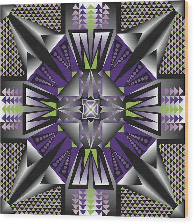 Optical Geometric Visual Digital Art Giclee Print Wood Print featuring the digital art Sharp Tile Art D by James Sharp