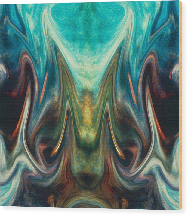 Abstract Wood Print featuring the digital art Fire Birth by Tom Romeo