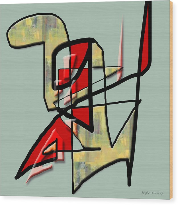 Modern Wood Print featuring the digital art Tactile Space  IIi by Stephen Lucas