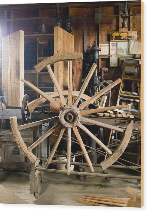 Decor Wood Print featuring the photograph The Wheelwright's Shop by Ron Kizer