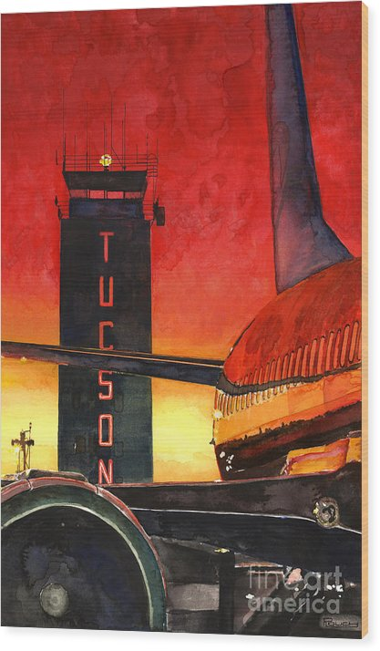 Tucson Wood Print featuring the painting Control Tower by Michelle Rouch