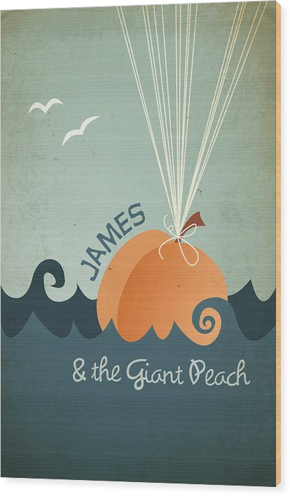 James Wood Print featuring the digital art James And The Giant Peach by Megan Romo