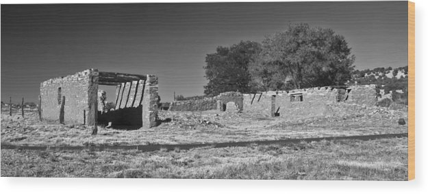 Fine Wood Print featuring the photograph Abo Ruins 4 In Bw by Don Durante Jr