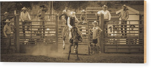 Action Wood Print featuring the photograph Cowboy 3 by Jordan Kaplan