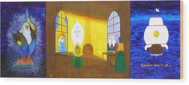 Deus Quer Wood Print featuring the painting Deus Quer O Homem Sonha A Obra Nasce by Greg Gierlowski