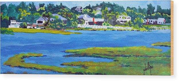 Emerald Isle Intercoastal Waterway Wood Print featuring the painting Leaving The Island by Jim Phillips