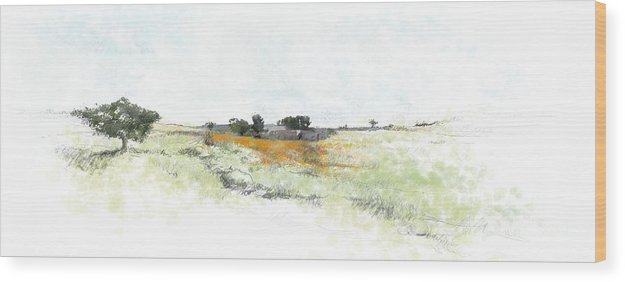 Landscape Wood Print featuring the painting Orange Field by Ronald Rosenberg