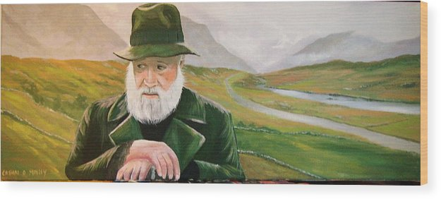 Irish Landscapes Paintings Ireland The Field Richard Harris Leenane Co Galway J.b Keane Wood Print featuring the painting Richard Harris In The Film Called The Field by Cathal O malley