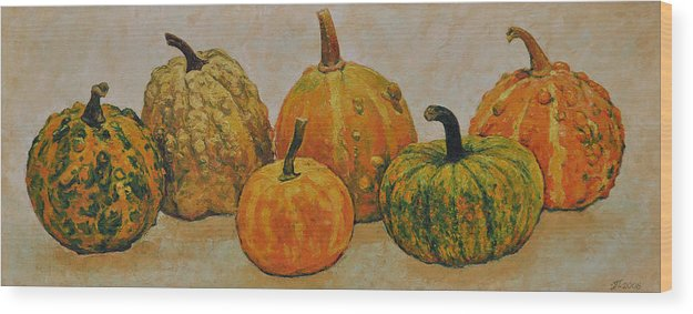 Still Life Wood Print featuring the painting Still Life With Pumpkins by Iliyan Bozhanov